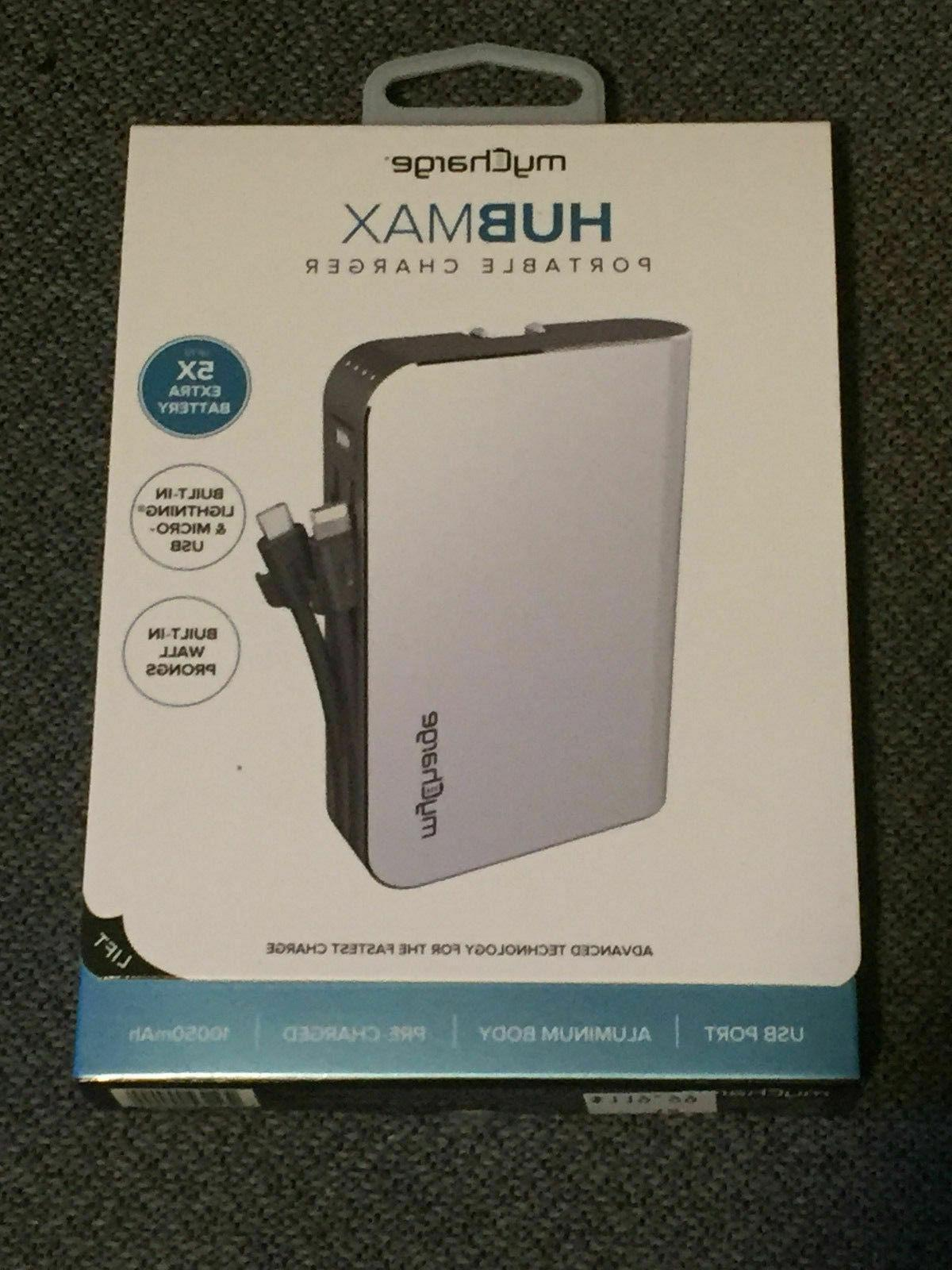 hubmax 10050mah portable charger w built in