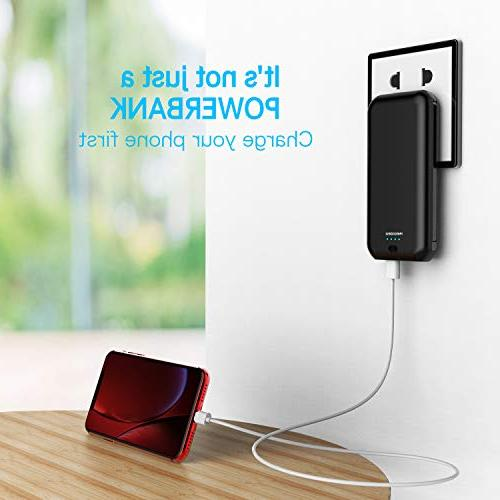 Heloideo Power Bank with AC Charging Portable Charger Cable