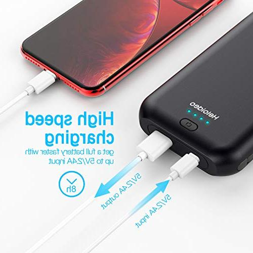 Heloideo 15000mAh Bank with AC Plug, Charging Portable Cable