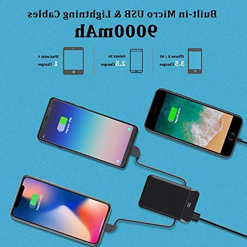 Mobile 9000mAh Slim Quick Portable Phone Charger External Charger LCD Cables iPad, Galaxy More