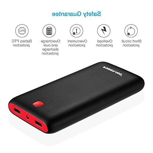 20000mAh Bank Dual USB Port Pack Flashlight Charger XS 8, Plus, iPad Black+Red
