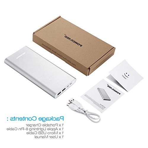 POWERADD Pliot 20000mAh External Battery Pack 8-Pin Bank Fast for iPhone, Samsung, LG More - Silver