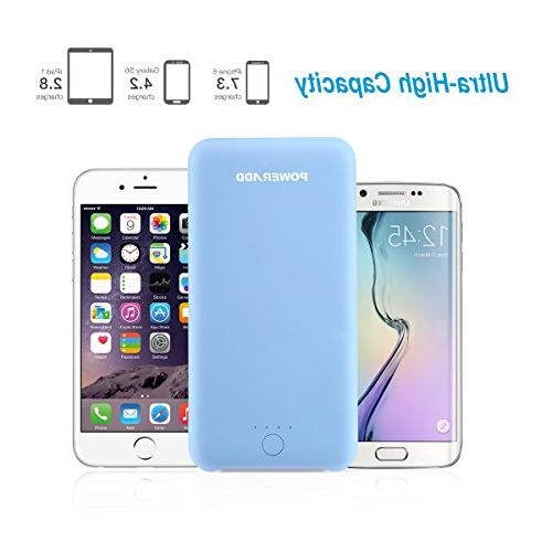 Poweradd 20000mAh Power Comfortable Touch External Battery Pack Tech iPhone, iPad, Samsung Note and More - Blue