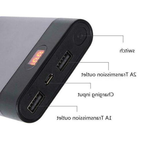 Portable USB Battery LCD Display Power Case Box
