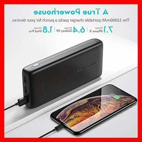 Portable Charger 32000 Battery 6A USB Power Black