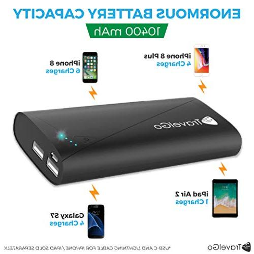 Portable Charger 10400mah,Travel Dual 2 USB Pack iPhone X/ 8/7/ More