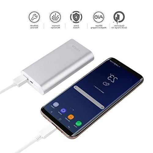 AUKEY 10050mAh with Qualcomm 3.0 Samsung S8/S8+, LG 10 More Silver