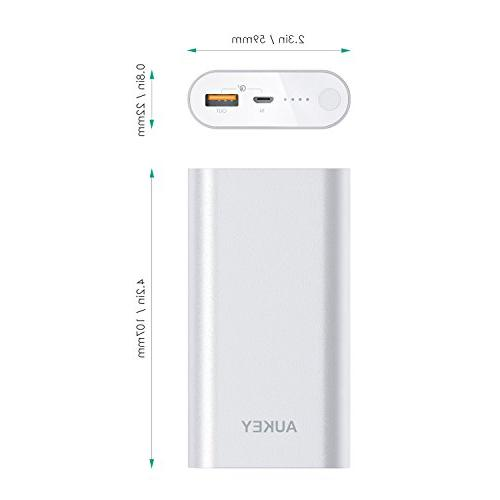 AUKEY 10050mAh Portable with Quick 3.0 Compatible S8/S8+, 10 Silver