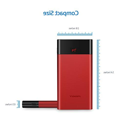 Slim Portable Charger,Power Bank 10000mah, USB External Battery Compatible for Samsung,