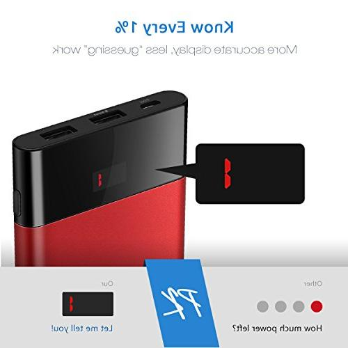 Slim Portable Charger,Power Bank 10000mah, PISEN Battery Pack USB External Compatible Samsung, and