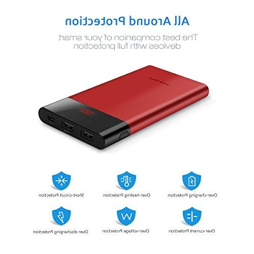 Slim Charger,Power 10000mah, PISEN with LED Dual USB Compatible iPhone, Samsung, and More