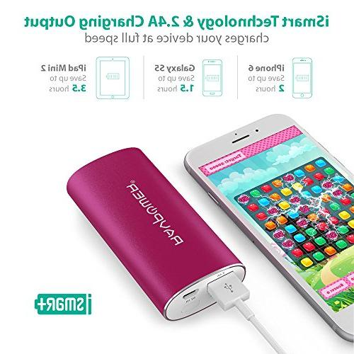 Portable RAVPower External Battery Pack Power Bank Pack Battery Charger Xs, iPhone Note 8 and - Pink