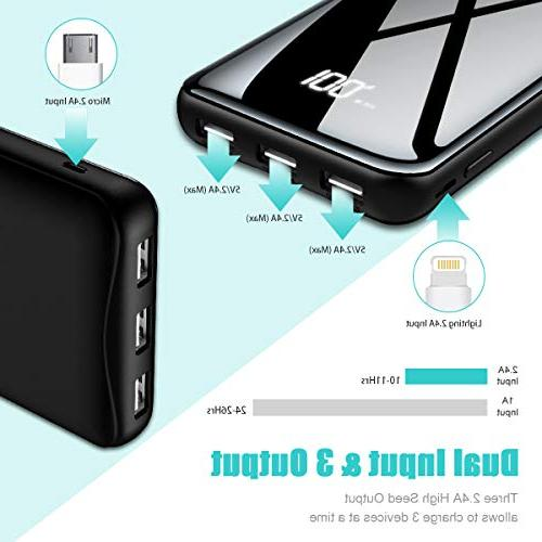 Portable 25000mAh with LCD USB Output & Input Compatible Phones,Android Phone,Tablet and More