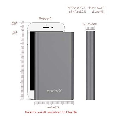Yoobao Charger Bank Input 8000mAh Slim Pack Compatible iPhone 8 7 6 Plus Android etc-