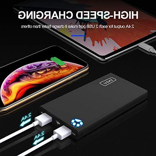 INIU 10000mAh Power Bank USB Ports External Battery Backup Compact Powerbank with iPhone X 7 6s 6 5s 5 Phone