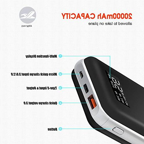 20000mah Quick Charger High Capacity Portable Pack with C Port and More
