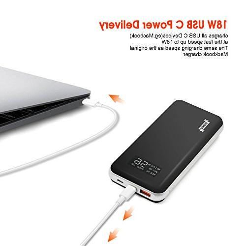 20000mah Capacity Portable with LCD Digital for with USB C Power Port and More