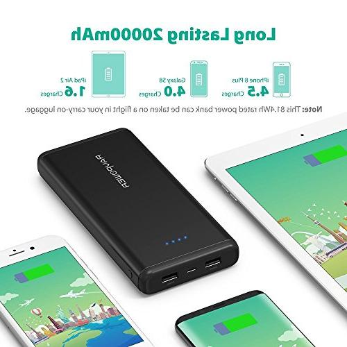 Portable Charger USB Battery Dual iSmart USB Ports, Max Output, 2A Input iPhone, Galaxy Devices