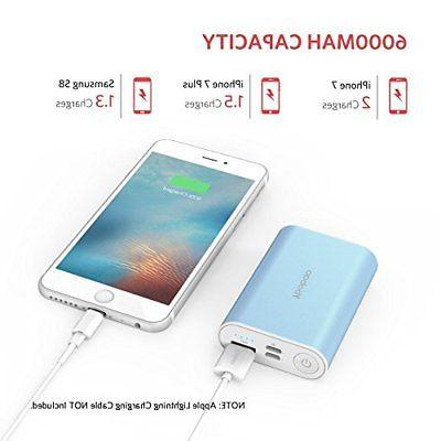 Portable iPhone Charger, 6000mAh Ultra Compact Power Bank