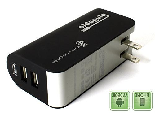 Plugable Power 2015 2-Port USB Power Bank  + Pass-Through AC