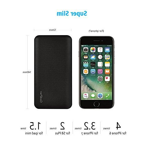 Power 10000mAh Power Bank Portable Powerbank 2-Port Battery Charger Compatible With Smartphone and More