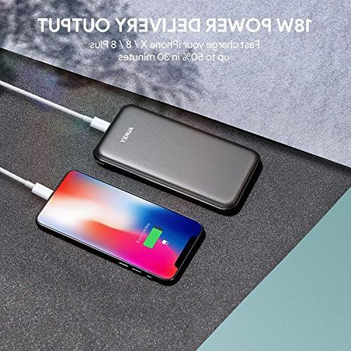 AUKEY Bank, 10000mAh Bank, Portable Charger with Quick 3.0 Compatible iPhone Xs/XS Max, Pixel, Samsung, Nintendo Switch