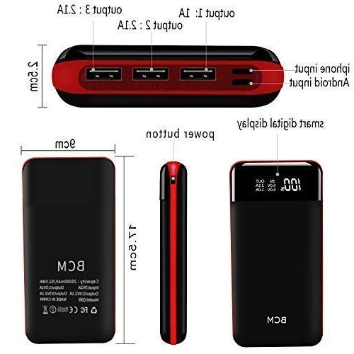 Power Capacity Portable Charger Battery Power Pack Inputs 3 Output Intelligent Compatible Tablet