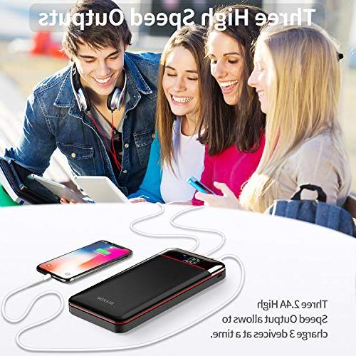 Power 25000mAh Portable Charger Battery Pack with Three Outputs&Dual Capacity Battery Compatible Smartphone,Tablet and