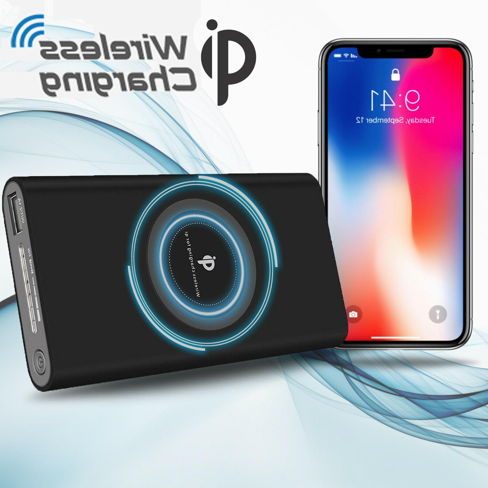 Power Bank Qi Wireless Charging 10000mAh 2 USB Fast Portable