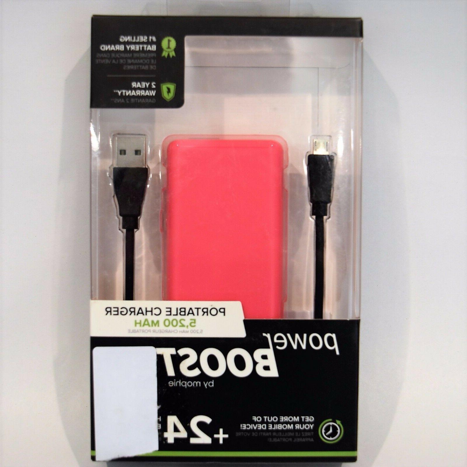 Mophie Power Boost 5200 mAh Portable Charger - Pink New!!!