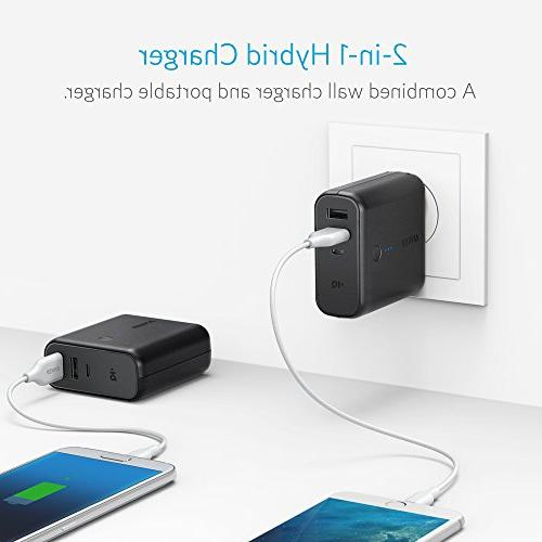 Anker Portable Charger 5000mAh with Dual USB Wall Charger, Plug and PowerIQ, Battery Pack Android, Galaxy More