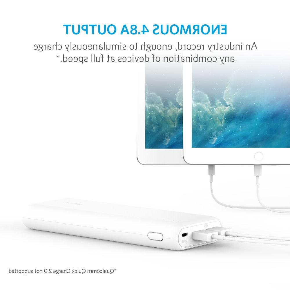 Anker 20100 mAh Portable Charger 4.8A Output and PowerIQ - White