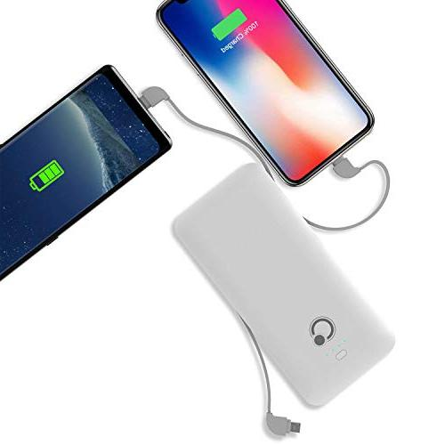 10000mAh Q Bank Battery Pack Charger Built-in USB C AC Phone Charger