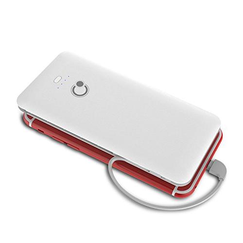 10000mAh Bank Battery Pack Built-in Micro Tpye C Three Kinds Cable AC Wall Phone