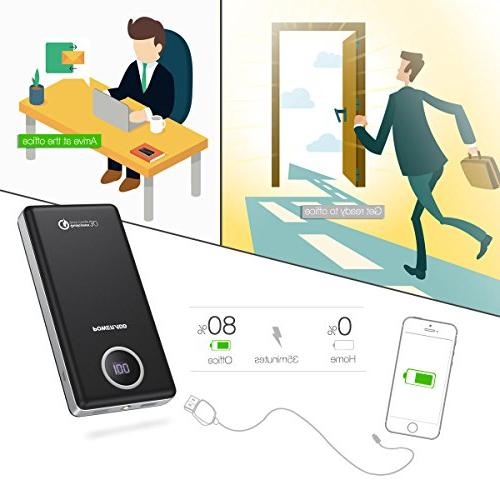 POWERADD QC3.0 20100mAh Power Bank 3.8A Output with LED Flashlight Galaxy more Phones Portable