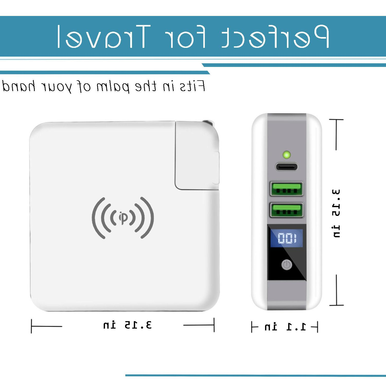 Qi Wireless Power Battery Charger Dual Type-C