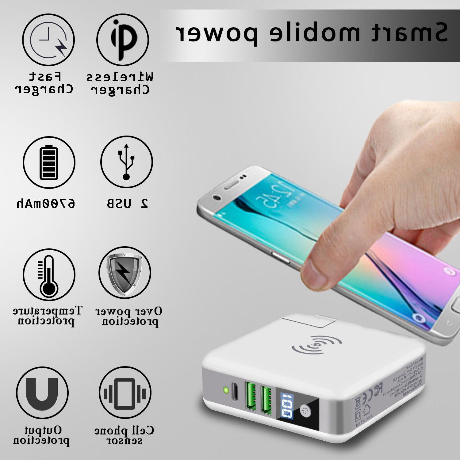Qi Wireless Charging Power Portable Charger USB Type-C