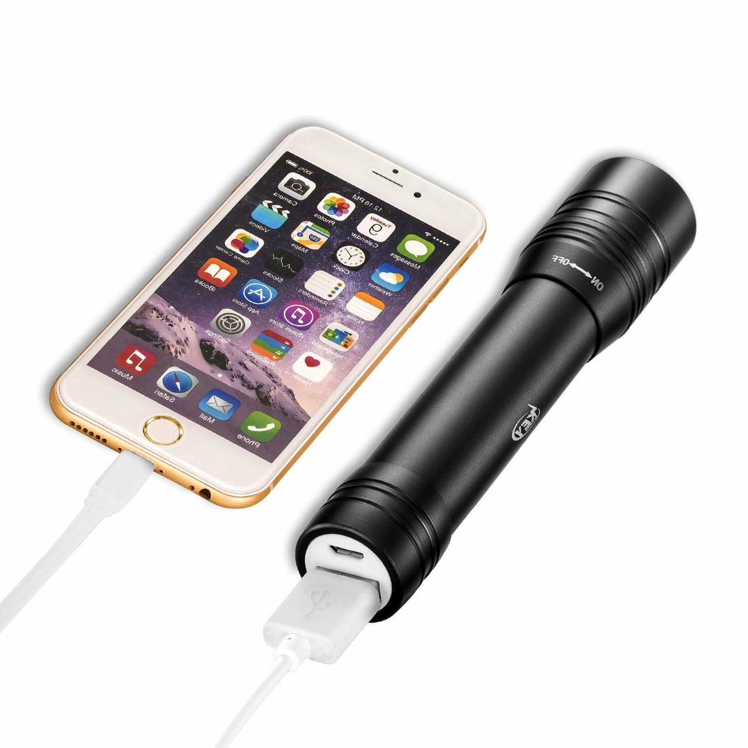 Rechargeable LED Flashlight Charger 3000mAh Battery Power Bank