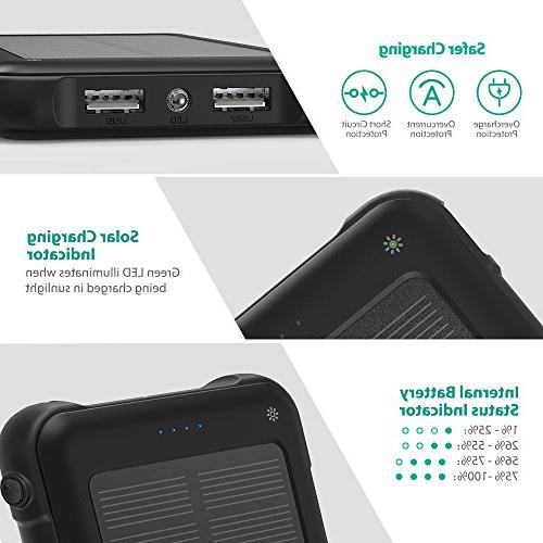 RAVPower Solar Flashlight Shockproof Portable Battery Pack and Dual XS/XS Galaxy S9/S8 and More Mobile