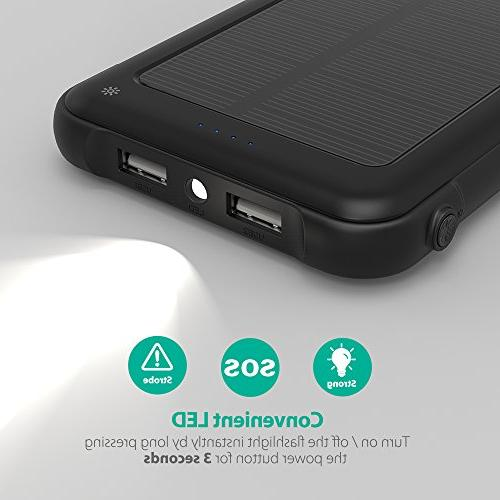 RAVPower Solar Charger 10000mAh Power Bank LED Flashlight Shockproof Pack and XS/XS Galaxy and