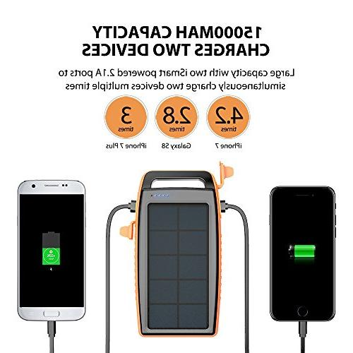 Solar Charger RAVPower Portable Charger Power Battery Power with for Galaxy S9, S8, iPhone X, 8 8 Plus, and