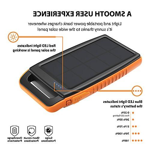 Solar Portable Charger Solar Bank Dual Battery Pack Power Pack with S9, iPhone 8 and More