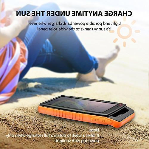 Solar Portable Bank Battery Pack with for Galaxy S9, S8, iPhone 8 Plus, and More