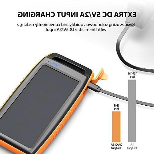 Solar RAVPower 15000mAh Portable Bank Dual USB External Battery Power Pack with for S9, iPhone X,
