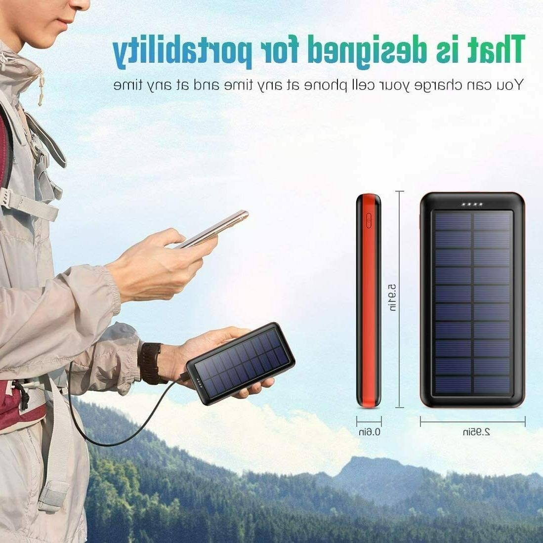 Solar Charger 26800mAh, BOMT【Type C & Micro Input】 Portable Charg