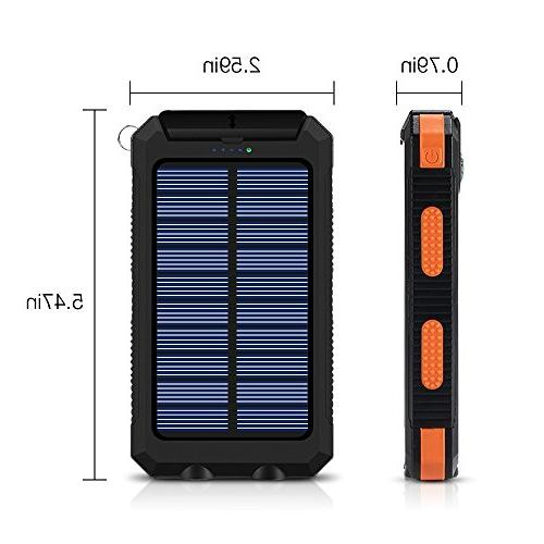 Ayyie Solar Power Bank Backup Battery Pack USB with 2LED Light Carabiner and Compass for Smartphones and More