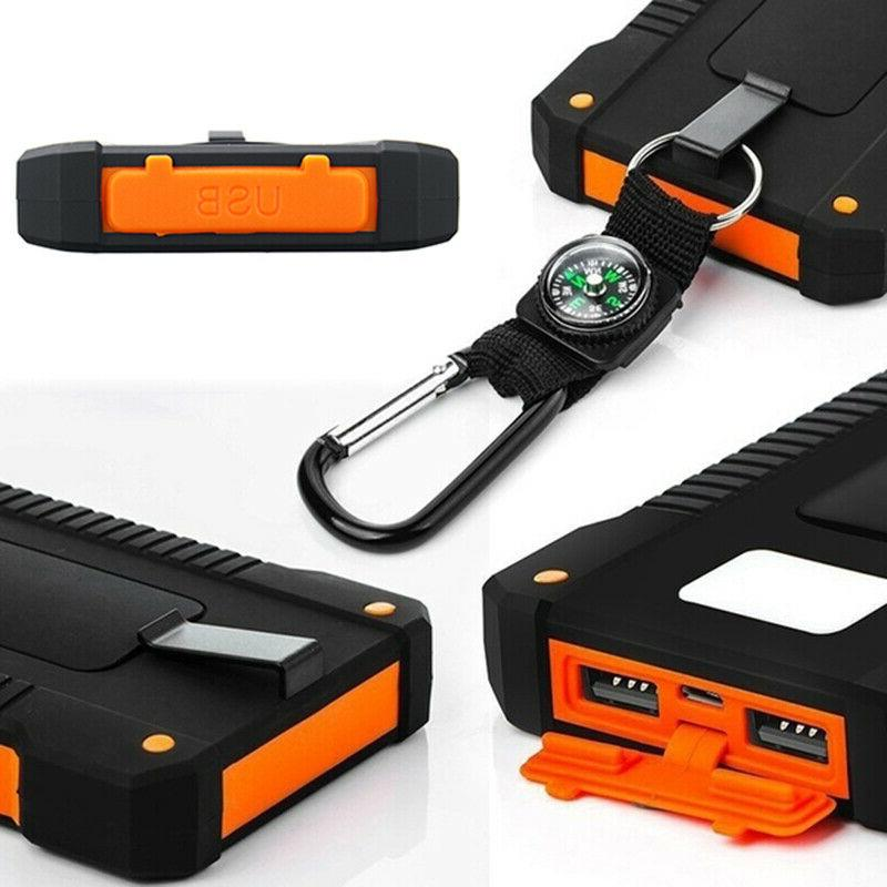 Solar Power 900000mAh Portable Dual Battery Charger