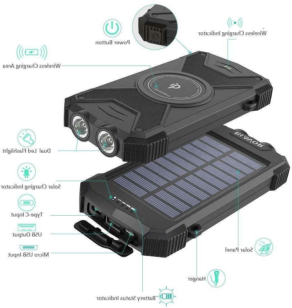 Solar Bank Portable Charger 10000mAh Battery Pack Type Input