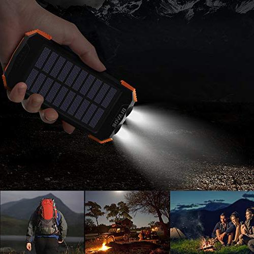 Solar Power Bank, Portable Charger Battery Pack Input Port Dual Flashlight,
