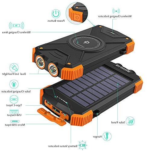 Solar Qi Portable External Battery C Input Port Compass
